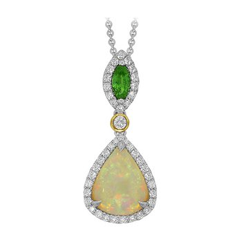 18kt Opal and Diamond Pendant w/Tsavorite