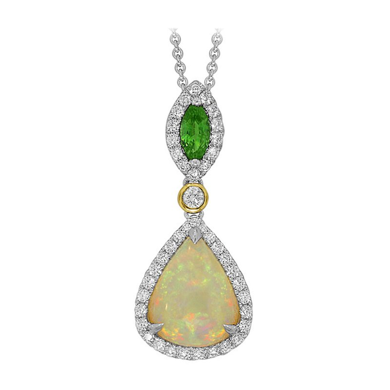 King's 18kt Opal and Diamond Pendant w/Tsavorite