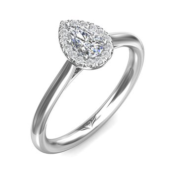 14kt Wh Pear Shaped Diamond .30ct with Halo #030401