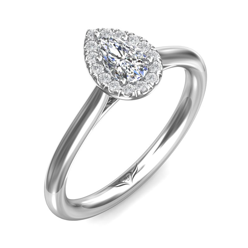 King's Estate 14kt Wh Pear Shaped Diamond .30ct with Halo #030401