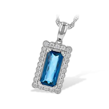 "14kt Wht Rectangular London Blue Topaz 1.55ct w/Diams 18"" Chain"