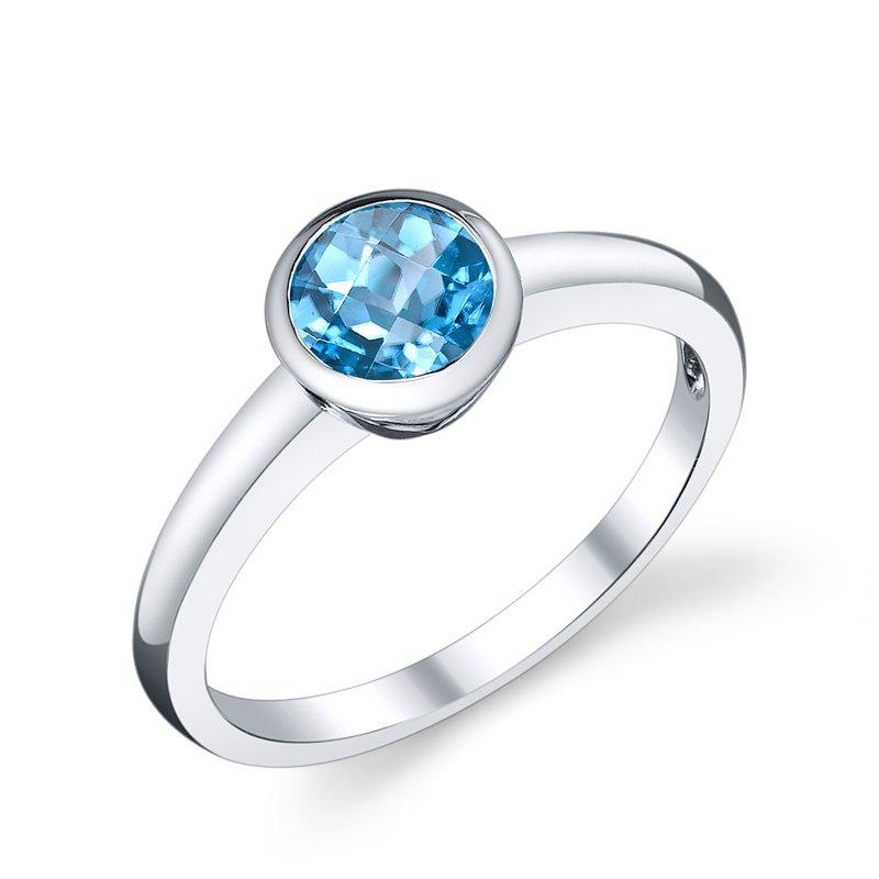 King's Bezel Set Blue Topaz Ring