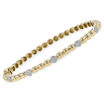 Beaded Bangle Bracelet Diamond Stations