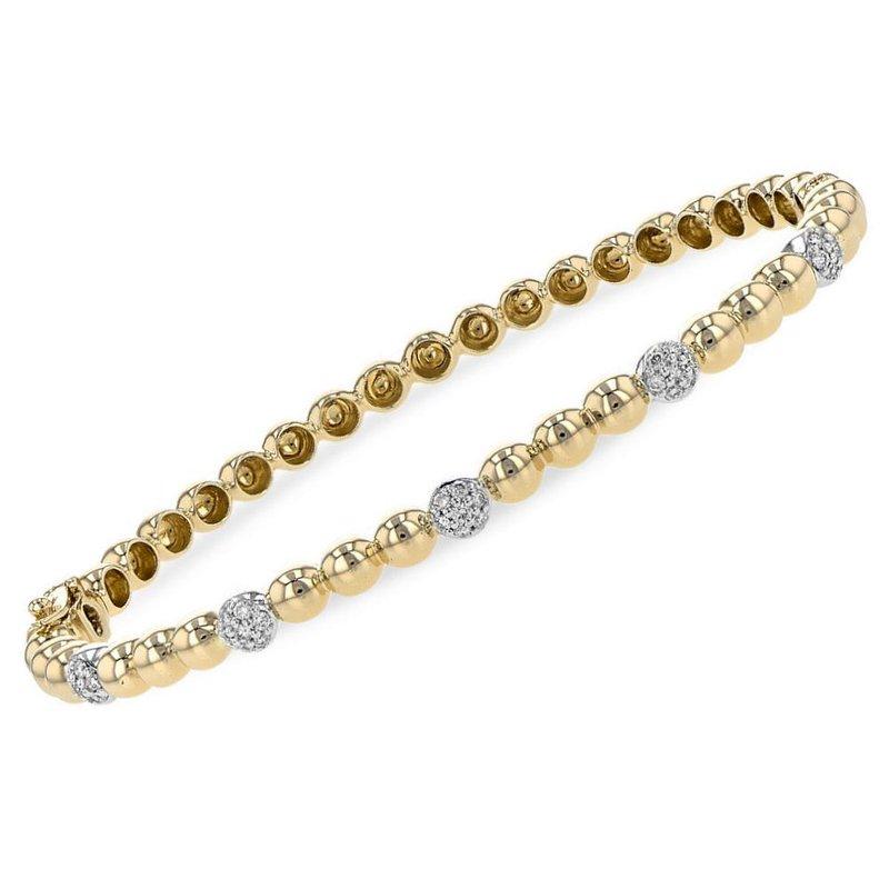 King's Beaded Bangle Bracelet Diamond Stations