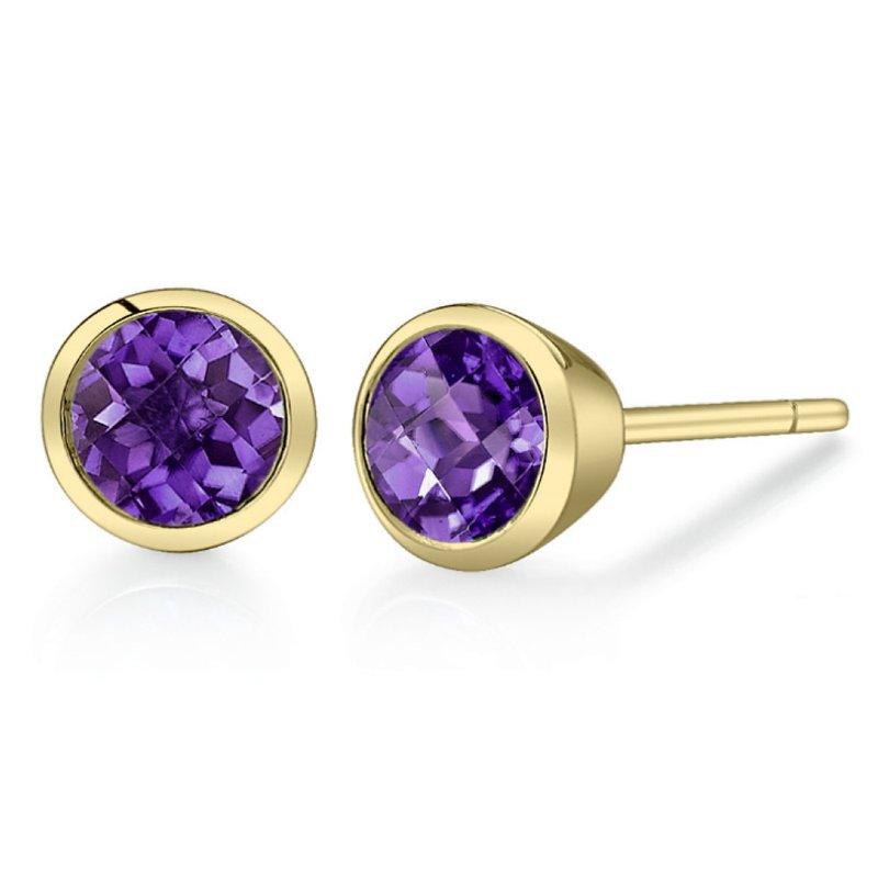 King's Round Amethyst Earrings Bezel Set
