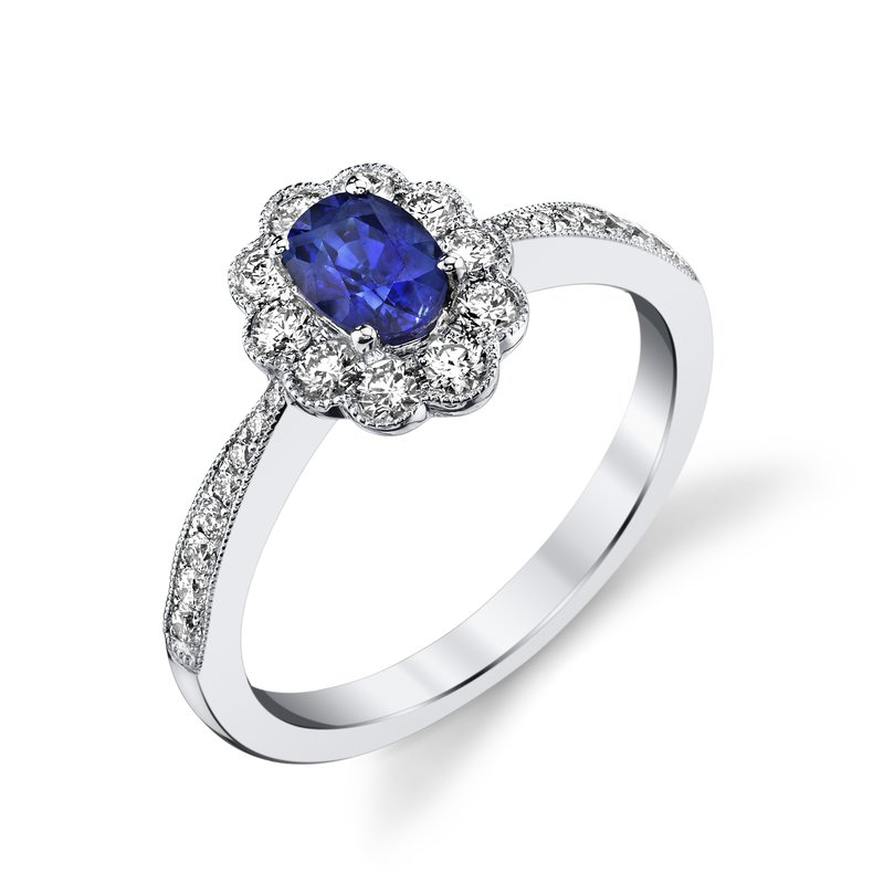 King's Oval Sapphire and Diamond Ring