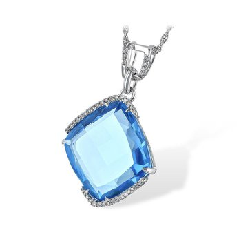 Square Blue Topaz and Diamond Pendant