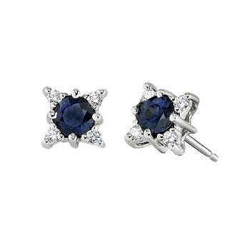 Sapphire Earrings with Diamond Accents