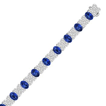 18kw Oval Sapphires 10.50tw and Diamond 2.94tw Bracelet