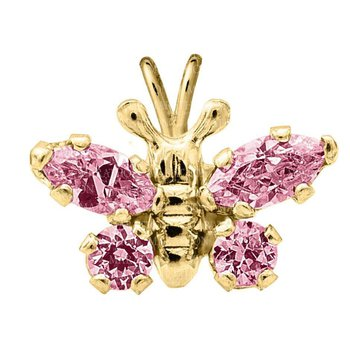 "14kt Yel Butterfly Pendant w/Pink CZ on 15"" Chain"