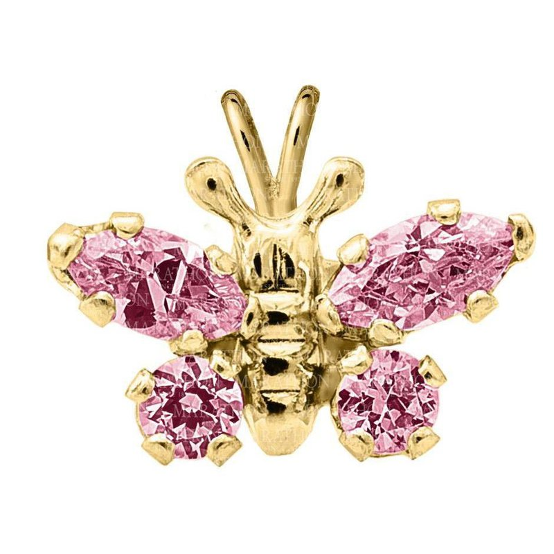 """King's Children 14kt Yel Butterfly Pendant w/Pink CZ on 15"""" Chain"""