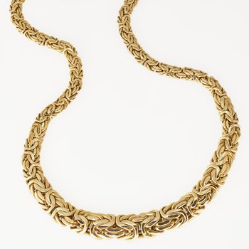 14kt Gold Woven Necklace Graduated Width 18""