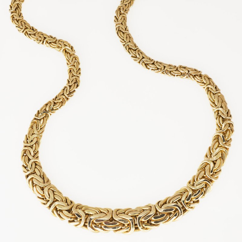 """King's Estate 14kt Gold Woven Necklace Graduated Width 18"""""""
