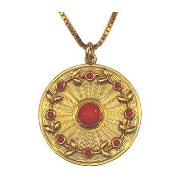 """14kt Yel """"Sunburst"""" Medallion Pendant"""