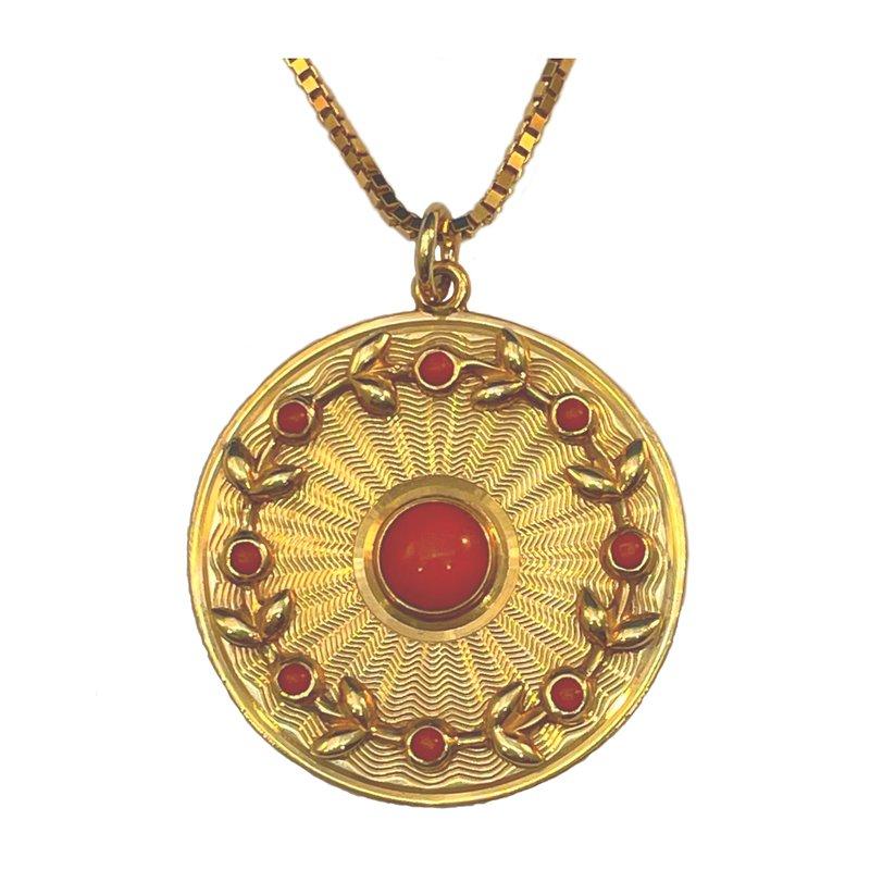 """King's Estate 14kt Yel """"Sunburst"""" Medallion Pendant"""