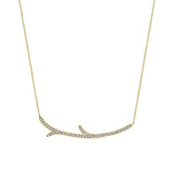 "Yellow Gold ""Twig"" Fashion Necklace"