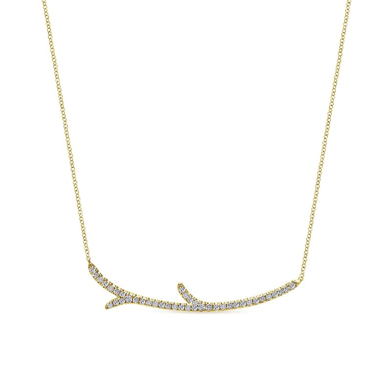 """King's Yellow Gold """"Twig"""" Fashion Necklace"""