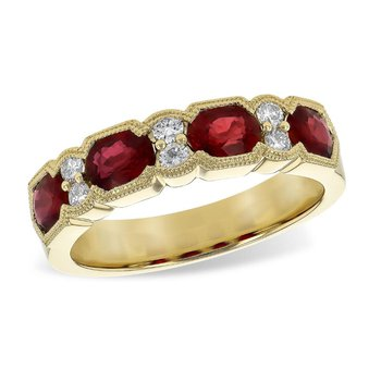 Oval Ruby & Diamond Wide Band