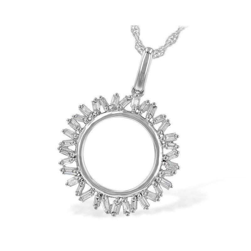 King's Baguette Diamond Circle Pendant