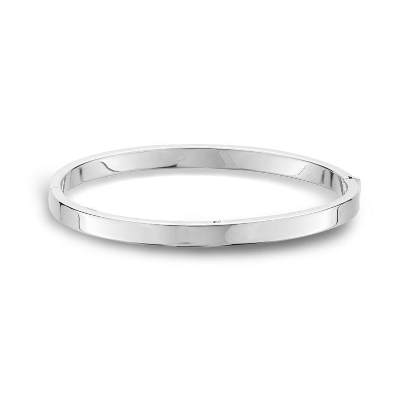 King's White Gold Bangle Bracelet Flat Edge