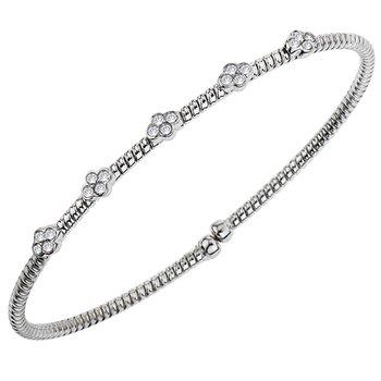 18kt Cuff Bracelet with Bezel Set Diamond Stations