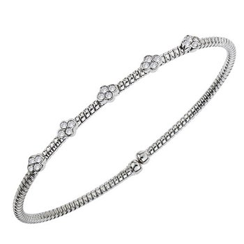 18kt Cuff Bracelet w/Bezel Set Diamond Stations