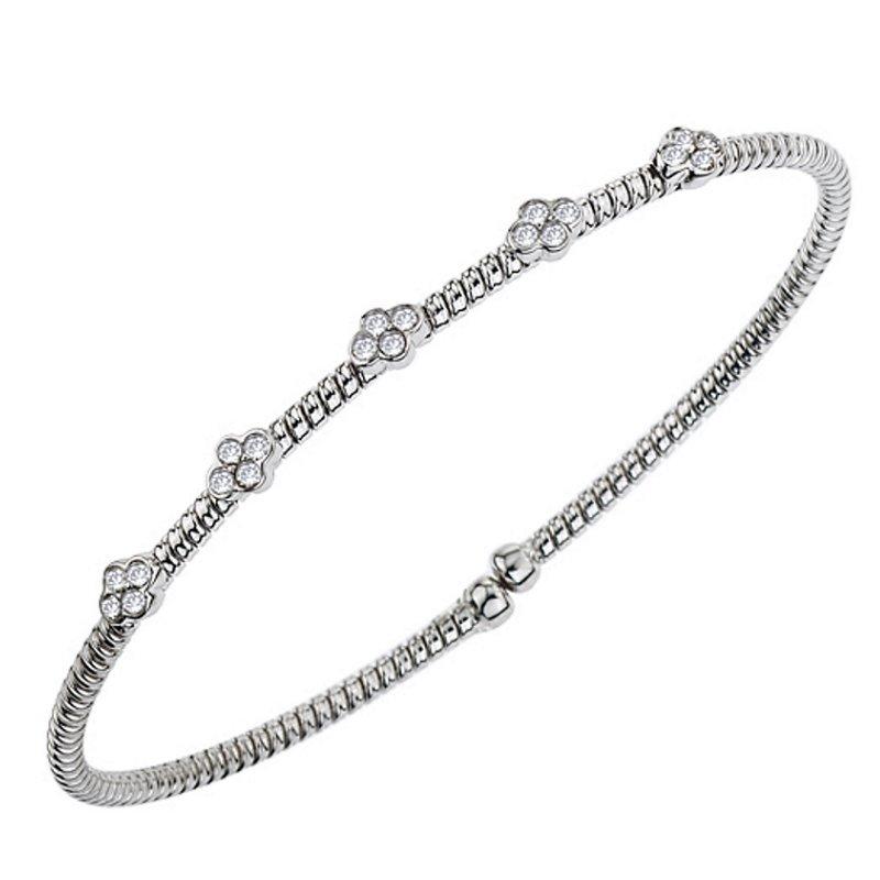 King's 18kt Cuff Bracelet w/Bezel Set Diamond Stations