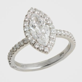Plat Marquise Engagement Ring 1.11ct w/Diams Halo & Shank
