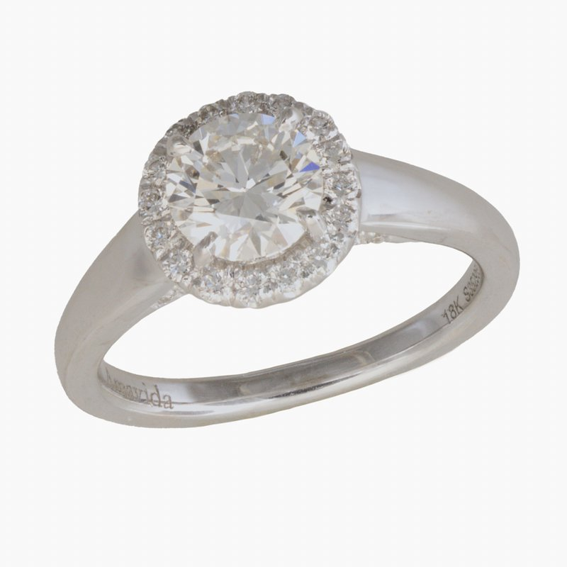 King's Bridal Diamond Halo Engagement Ring 1.03tw