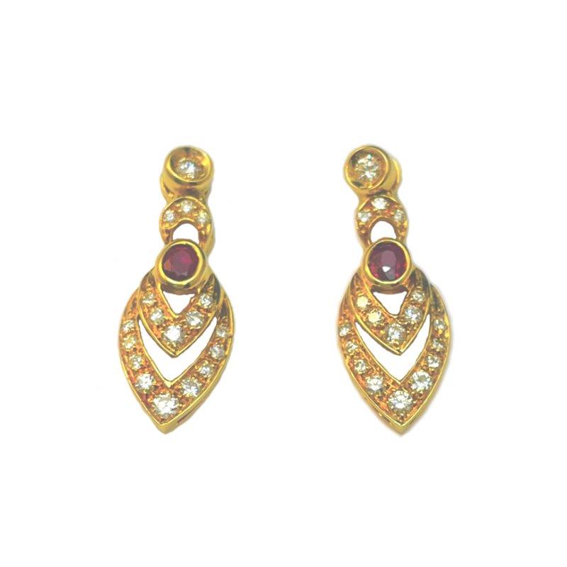 King's Estate 18kt Wht Ruby and Diamond Dangle Earrings