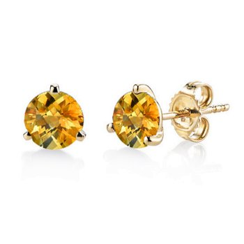 Citrine 3 Prong Martini Studs