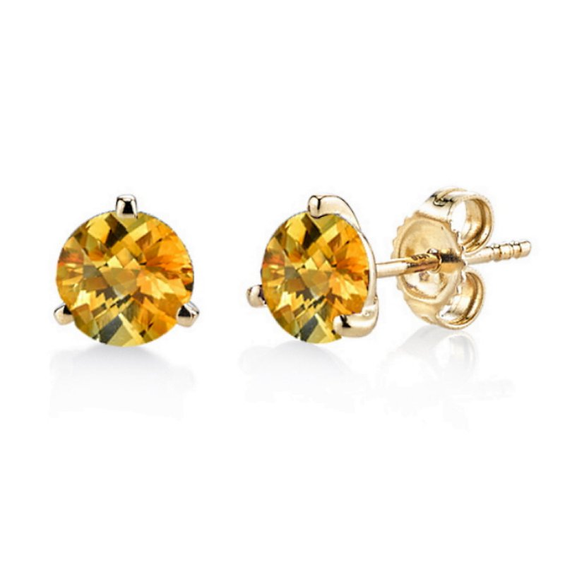 King's Citrine 3 Prong Martini Studs