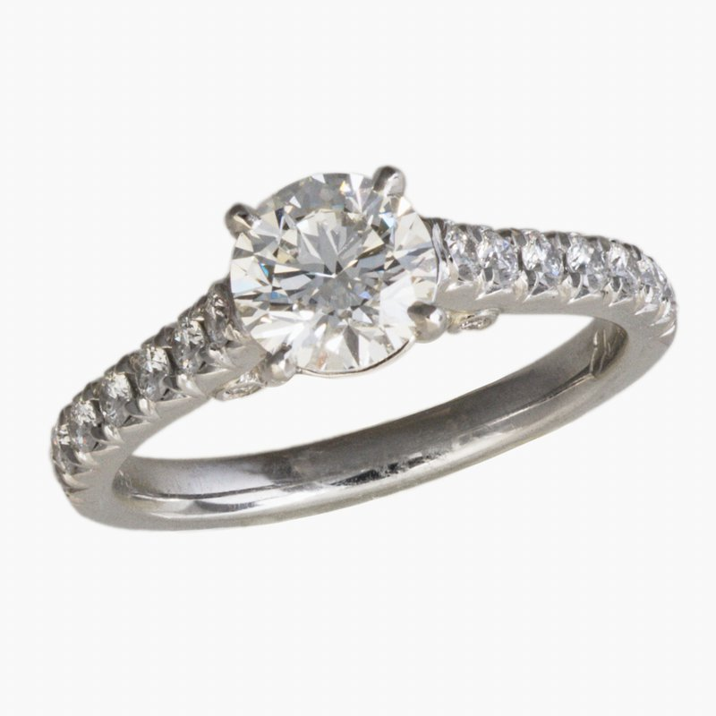 King's Bridal Plat Diamond Engagement Ring .90ct w/Diams in Shank