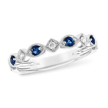 Sapphire & Diamond Milgrain Band