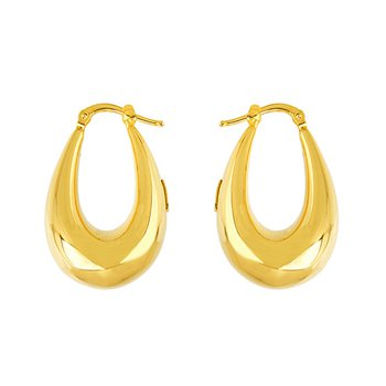 Yel Oval Hoop Earrings