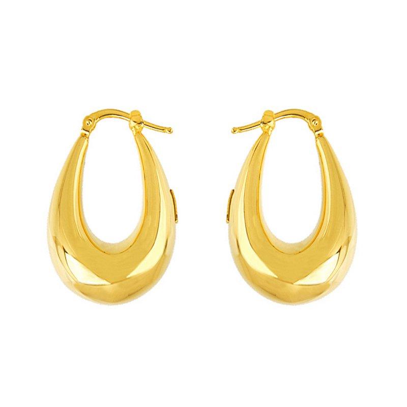 King's Yel Oval Hoop Earrings