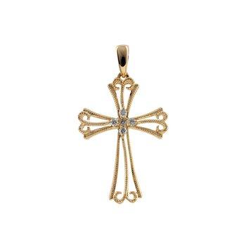 "Diamond Filigree Cross Pendant 18"" Chain"