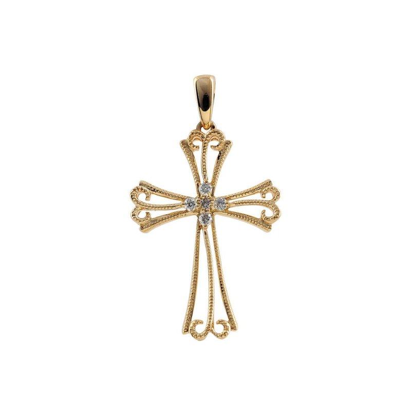 "King's Diamond Filigree Cross Pendant 18"" Chain"