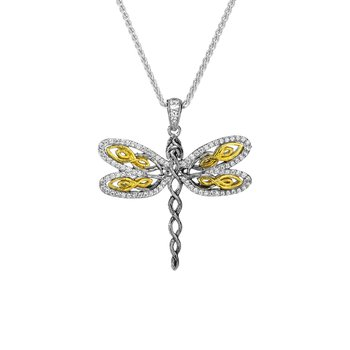 """Dragonfly"" Sterling & 10kt Gold CZ Pendant"