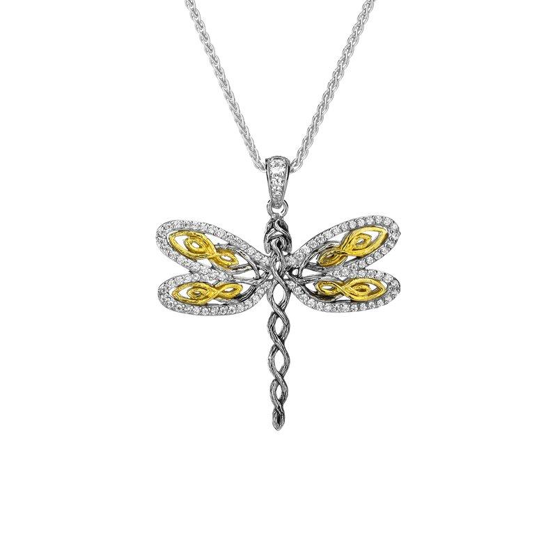 "Keith Jack ""Dragonfly"" Sterling & 10kt Gold CZ Pendant"