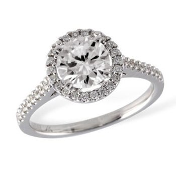 Diamond Engagement Ring 1.01ct w/Halo