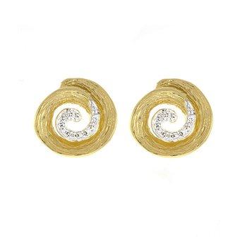 Gold Swirl Earrings w/Diam Center