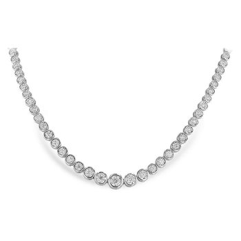 Graduated Bezel Set Diamond Necklace