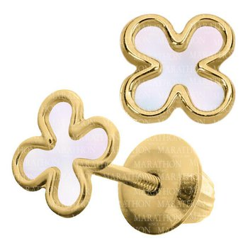 14kt Yel Clover Leaf Earrings w/Mother of Pearl