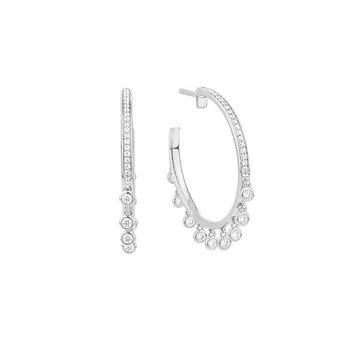 White Gold Diamond Hoop Earrings with Diamond Dangles