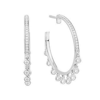 White Gold Diamond Hoop Earrings with Diamond Dangles