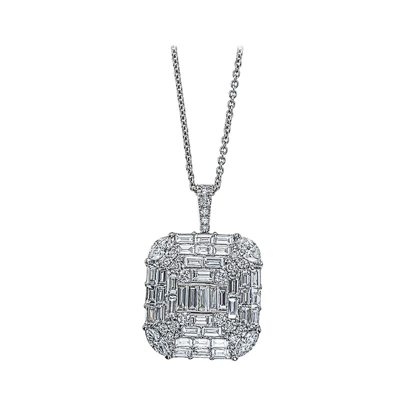 King's 18kt Wh Diamond Pendant w/Baguettes