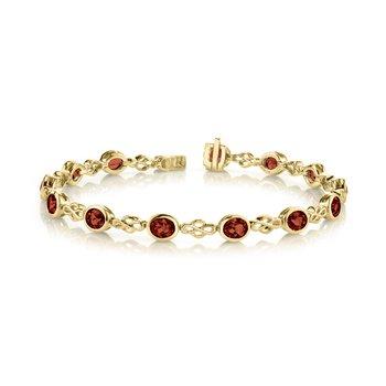 Oval Garnet Bezel Set Bracelet