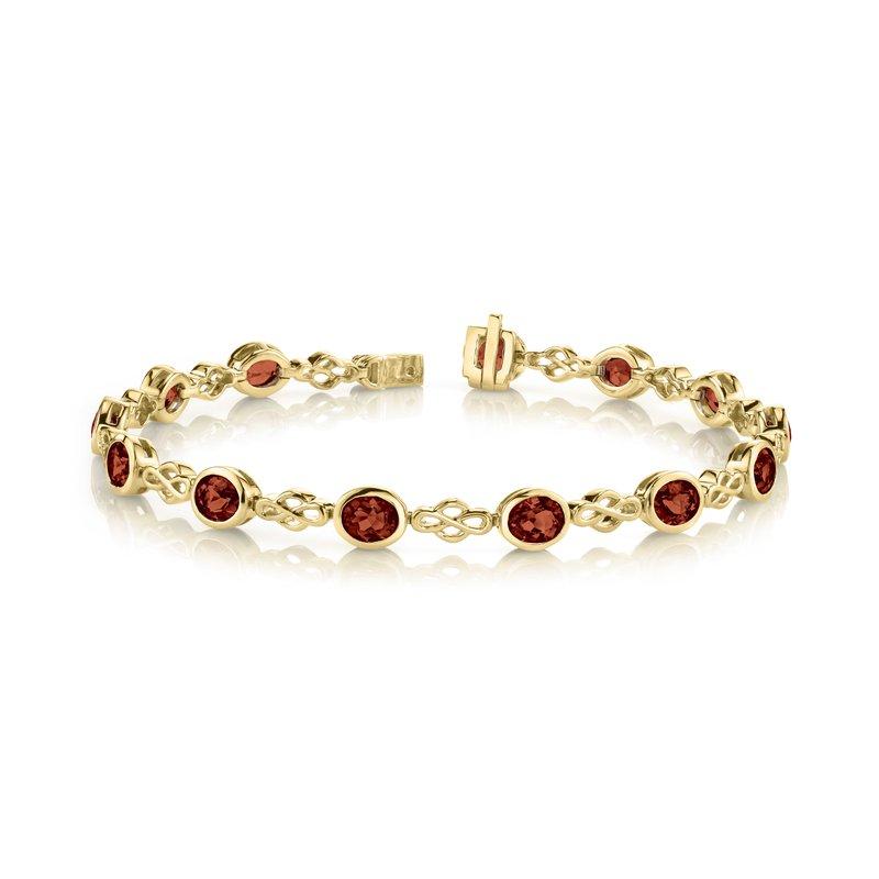 King's Oval Garnet Bezel Set Bracelet