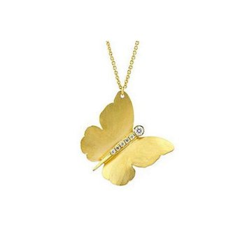 Gold Butterfly Pendant with Diamonds